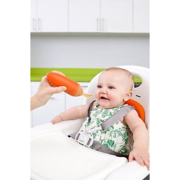 Boom Squirt Baby Feeding Spoon Food Dispensing - Orange cutebabyangels.co.uk