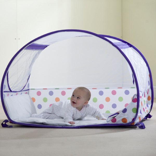 Koo-di Pop-Up Bubble Travel Cot – Purple Polka Dot - Cute Baby Angels Ltd