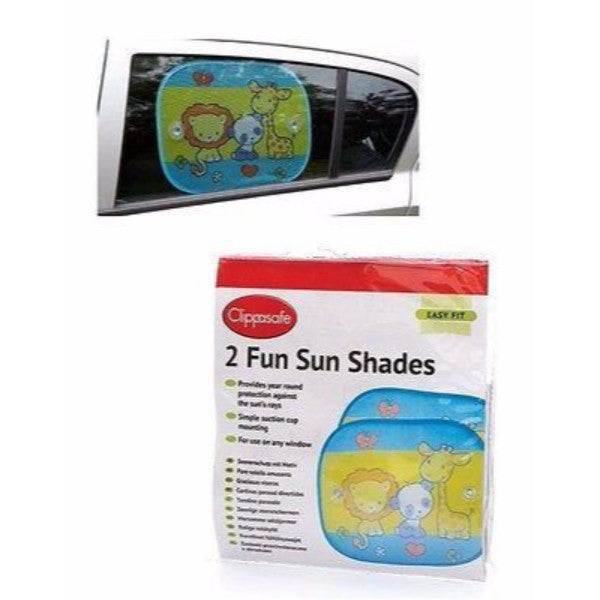 Clippasafe 2 Pack Safari Fun Sun Screens  – Multi Coloured  Blinds - Cute Baby Angels Ltd