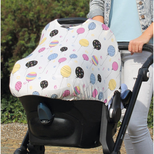 Dooky Hoody Infant Car Seat Hood - Sun & Sleep Cover - Color Change Balloons UPF 40+