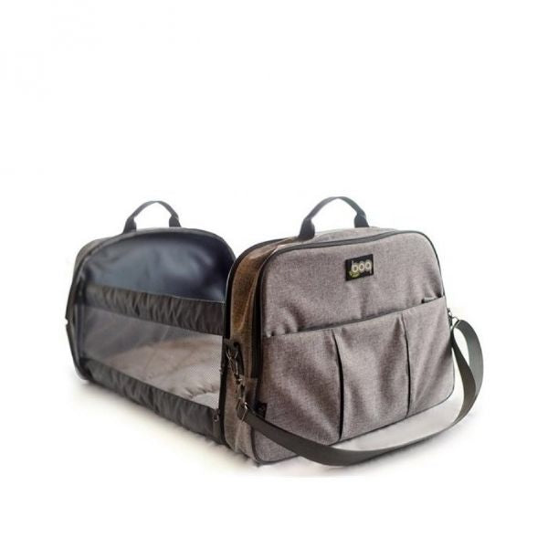 Bizzi Growin POD - 2 in 1 Travel Changing Bag & Travel Cot - Linen Grey cutebabyangels.co.uk