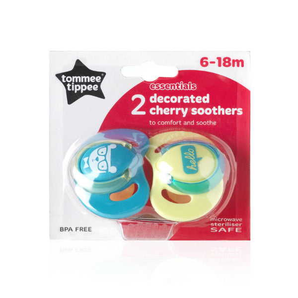 Tommee Tippee BPA FREE Cherry Decorated Soothers – Boy & Girl – 2 Pack cutebabyangels.co.uk