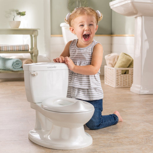 Summer Infant My Size Potty - Toddler Toilet Training Seat with Sound Flash Handle, Splash Back & Lid - White cutebabyangels.co.uk
