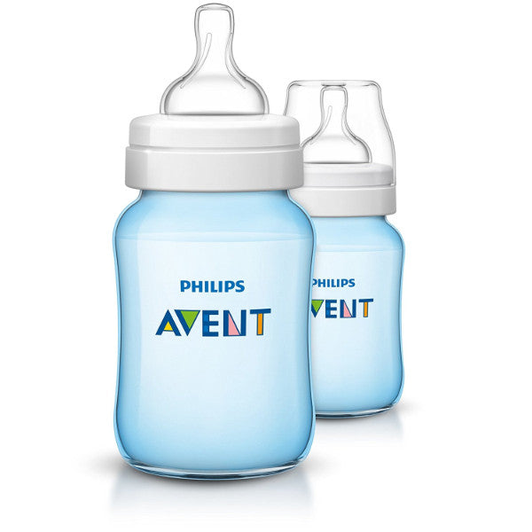 2 Pack Philips Avent Classic+ Anti-Colic Infant & Baby Milk Feeding Bottle - Blue cutebabyangels.co.uk