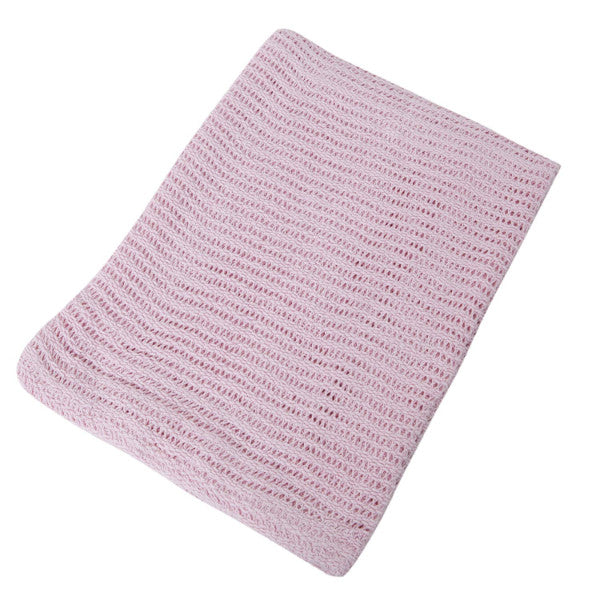 Snuggle Baby Cellular Pram Blanket - Cream or Pink cutebabyangels.co.uk