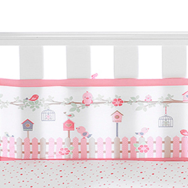 Breathable Baby 4 Sides Cot Bed Mesh Liner - English Garder Pink cutebabyangels.co.uk