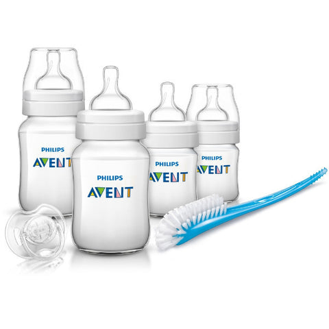 Avent Classic Newborn Starter Set Baby Feeding Bottles with Soother & Brush cutebabyangels.co.uk
