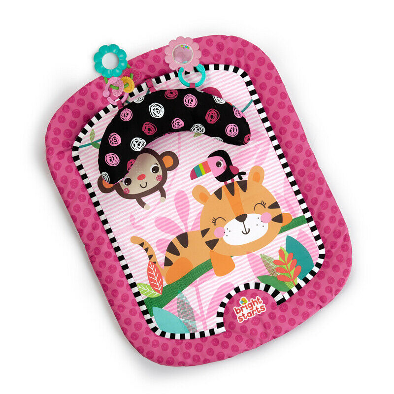 Bright Starts Wild Whimsy Prop Mat - Pink Baby Tummy Time Gym