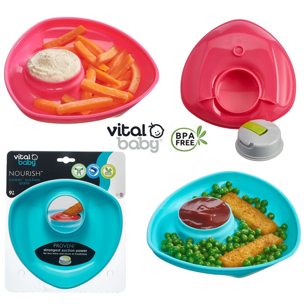 Vital Baby NOURISH Power Suction Plate Fizz - Pink or Blue cutebabyangels.co.uk