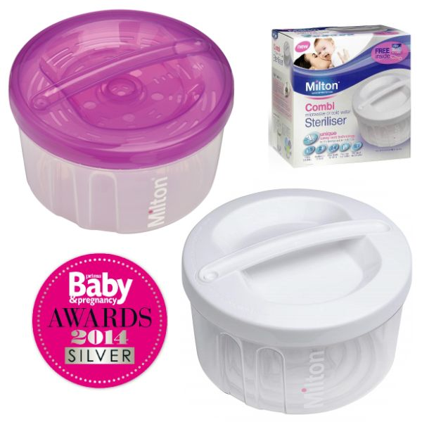 Milton Combi Steriliser Cold Water & Microwave Baby Feeding Sanitiser - FREE Tongs cutebabyangels.co.uk