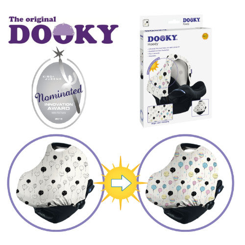 Dooky Hoody Infant Car Seat Hood Sun & Sleep Cover - Color Change Balloons UPF 40+ cutebabyangels.co.uk