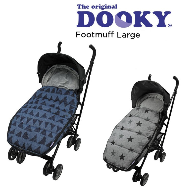 Luxury Dooky Winter Footmuff & Liner Large  – Dark Grey Stars or Blue Tribal Free Shipping