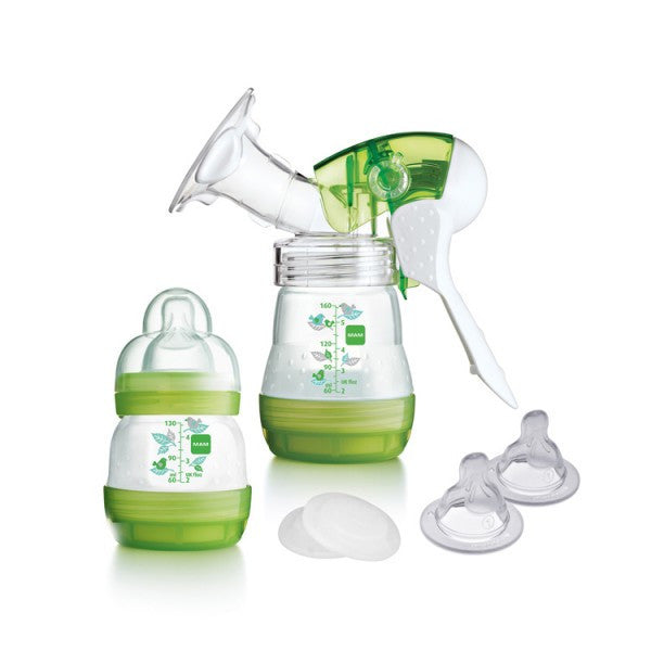 MAM Manual Breast Pump with Anti-Colic Milk Bottles & Baby Feeding Teats - Green cutebabyangels.co.uk