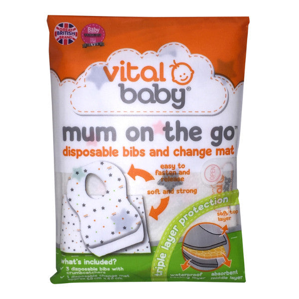 Buy Vital Baby Mum on the Go Disposable Bibs & Change Mat Wallet at cutebabyangels.co.uk free shipping