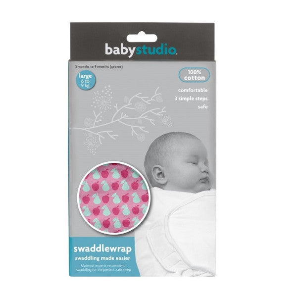 Baby Studio Swaddlewrap Pink Fruit – Safe Sleep Infant Swaddle – Small Newborn to 3 Months