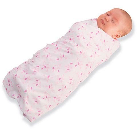 Breathable Baby Pocket Swaddle - Soft & Stretchy Wrap - Pink Leaf 0-3 Months