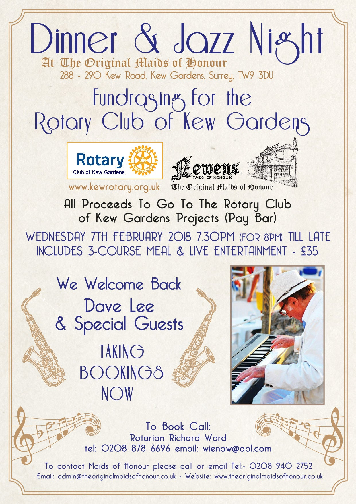 Dinner & Jazz Night | Fundraising for the Rotary Club WEDNESDAY 7TH FEBRUARY 2018