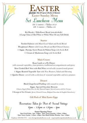 Easter Luncheon & Special Set Tea Menu