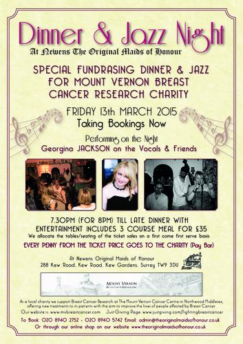 Fundraising Dinner & Jazz Night for Mount Vernon Breast Cancer Research