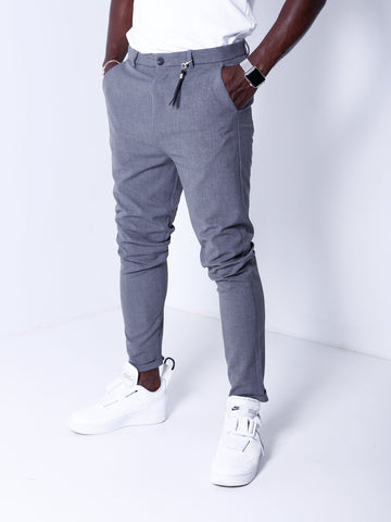 Ankle Pants w/ FREE Leather Accessory - Dark Gray - Pants - mens streetwear