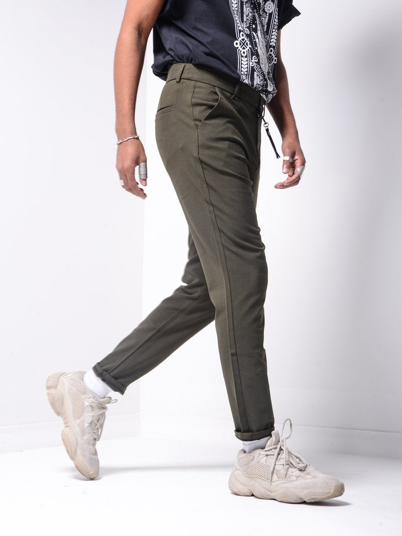 Ankle Pants w/ FREE Leather Accessory - Khaki - Pants - mens streetwear