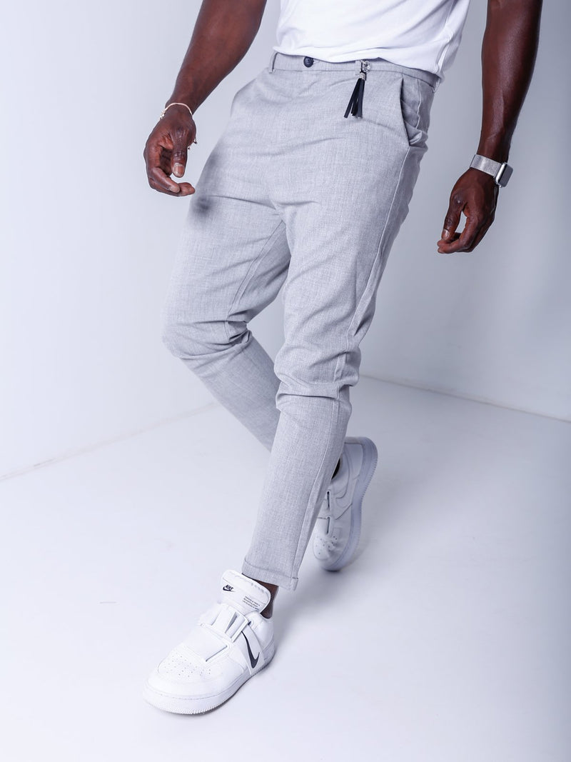 Ankle Pants w/ FREE Leather Accessory - Gray - Pants - mens streetwear