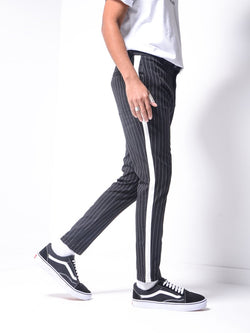 Striped Ankle Pants - Black - Pants - mens streetwear