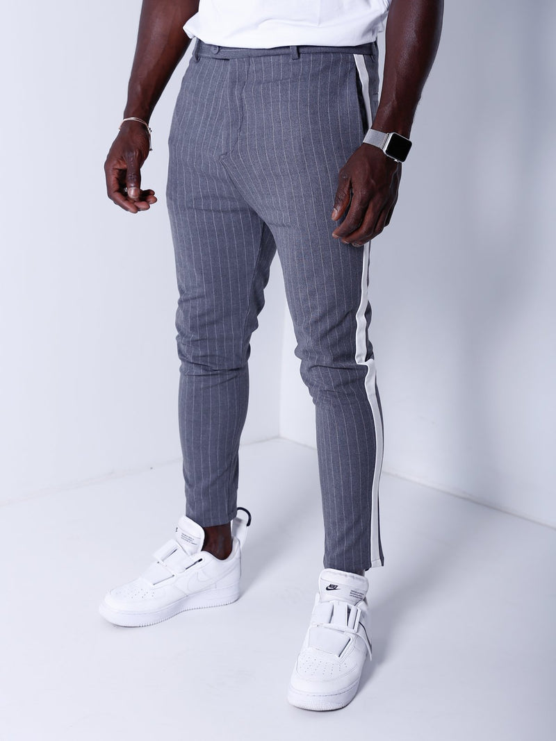 Striped Ankle Pants - Gray - Pants - mens streetwear