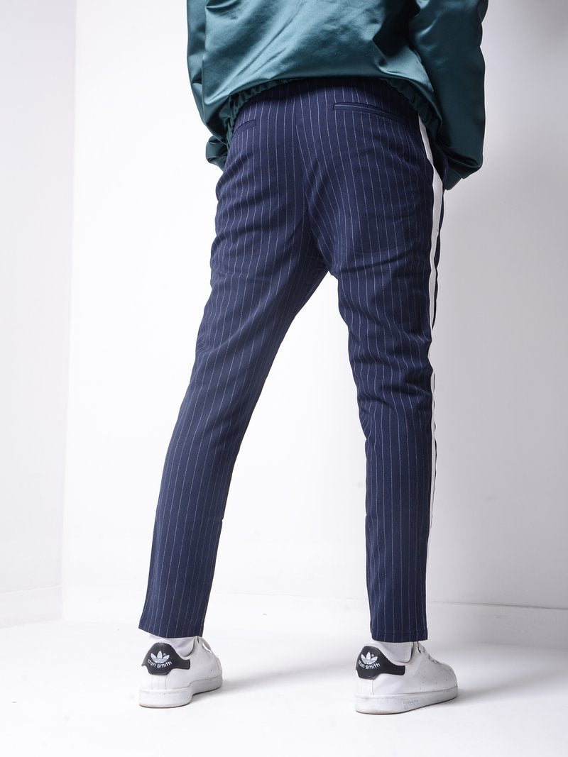 Striped Ankle Pants - Navy - Pants - mens streetwear