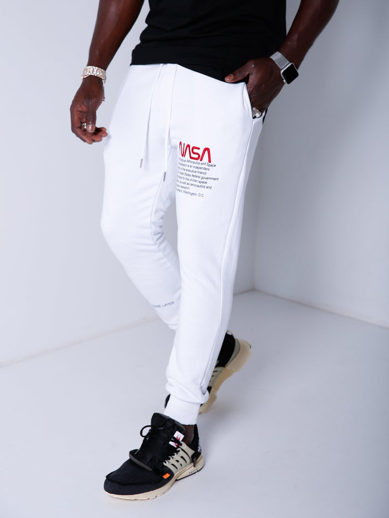 NASA Embroidery Sweatpants - White - Sweatpants - mens streetwear