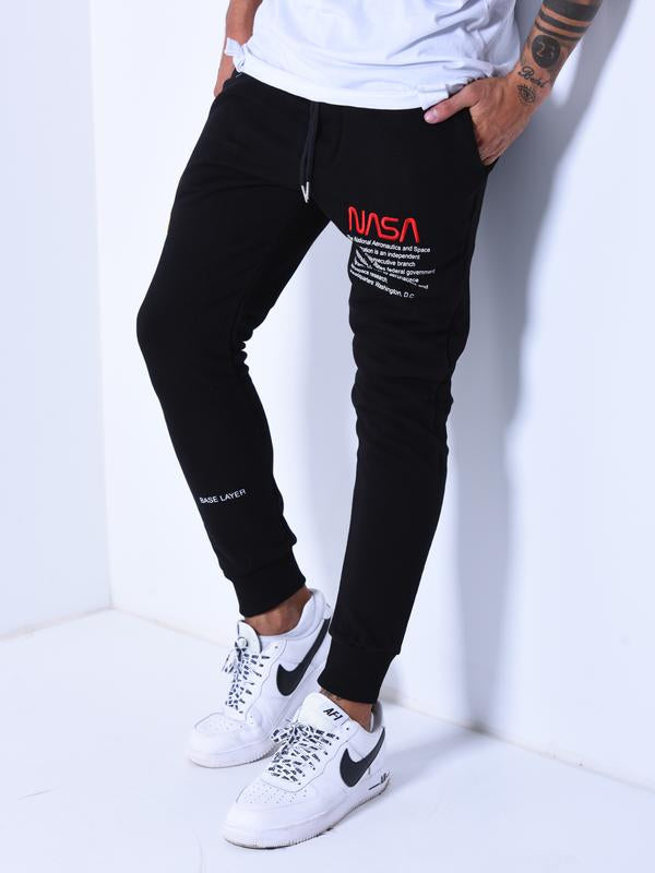 NASA Embroidery Sweatpants - Black - Sweatpants - mens streetwear