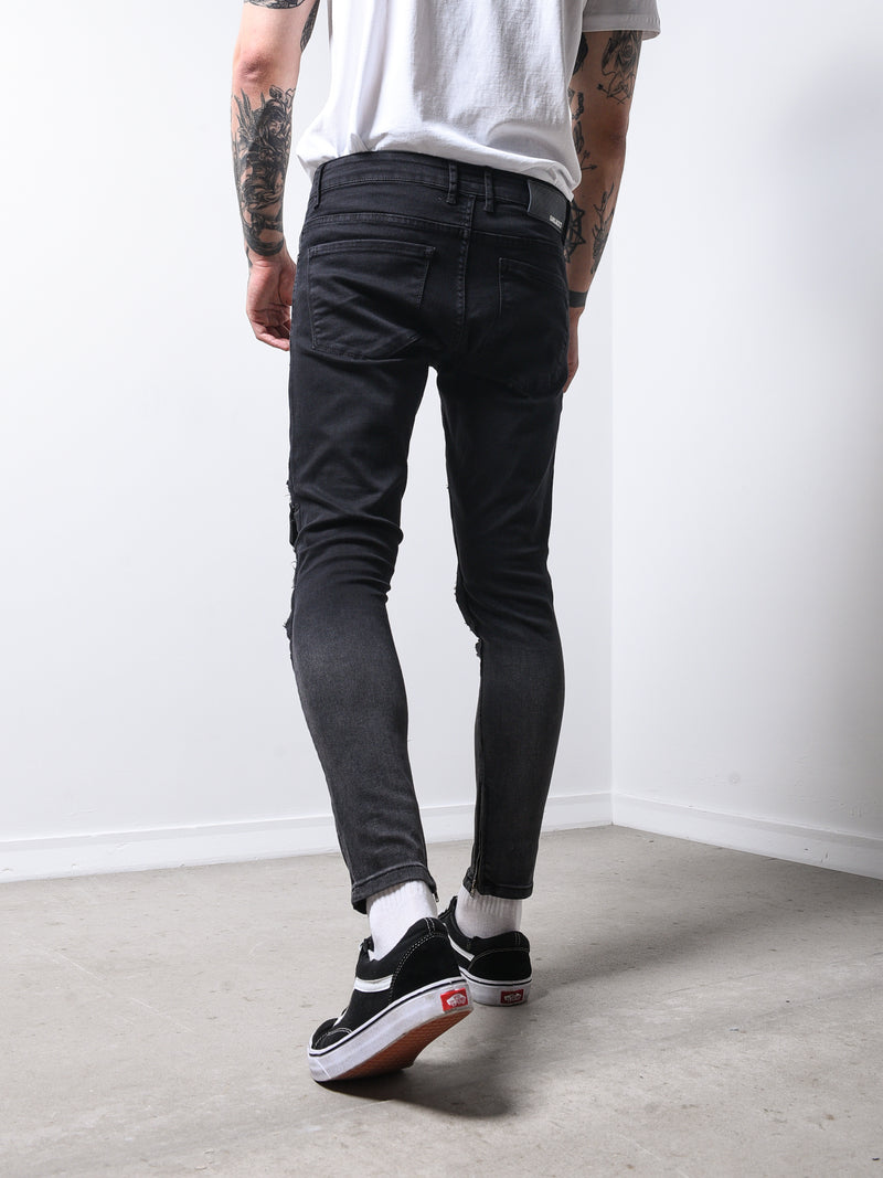 Skinny Jeans Ripped&Repaired Ankle Zipper
