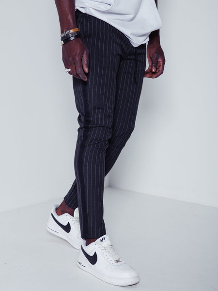 Premium Striped Ankle Pants - Charcoal - Pants - mens streetwear