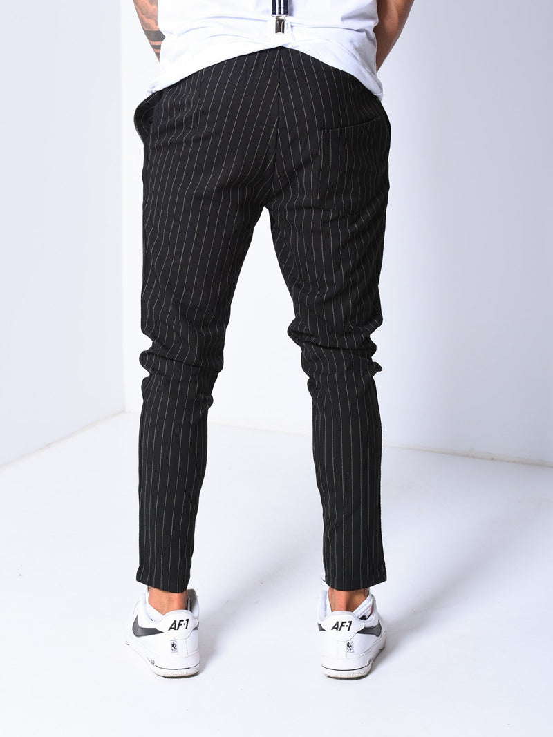 Premium Striped Ankle Pants - Black - Pants - mens streetwear