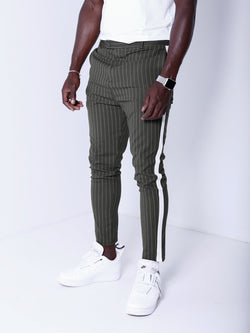 Striped Ankle Pants - Khaki - Pants - mens streetwear