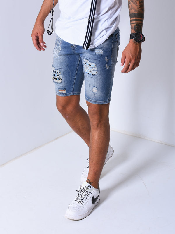 Ripped&Repaired Denim Shorts - Shorts - mens streetwear