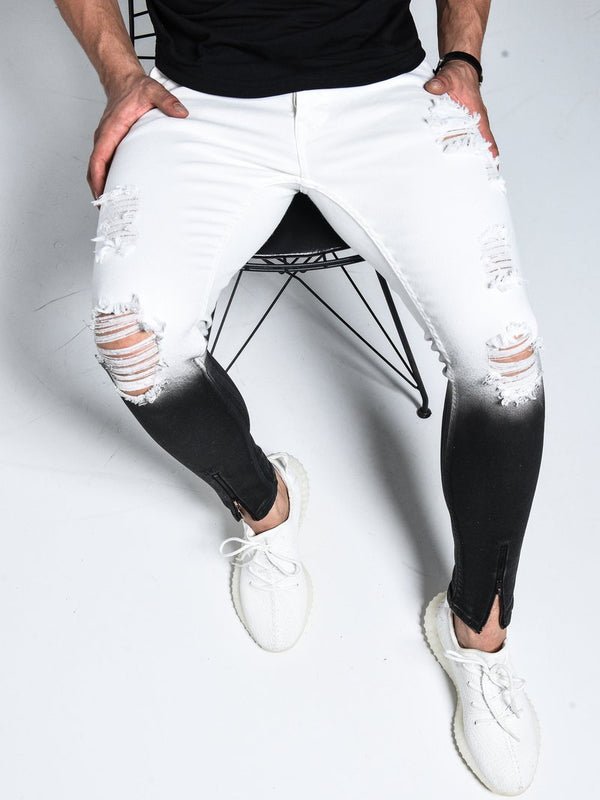Black&White Jeans Ripped - Jeans - mens streetwear