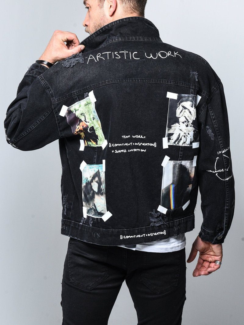 Denim Jacket Art Patch - Black