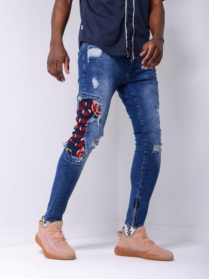 Snake Patched Jeans - Blue