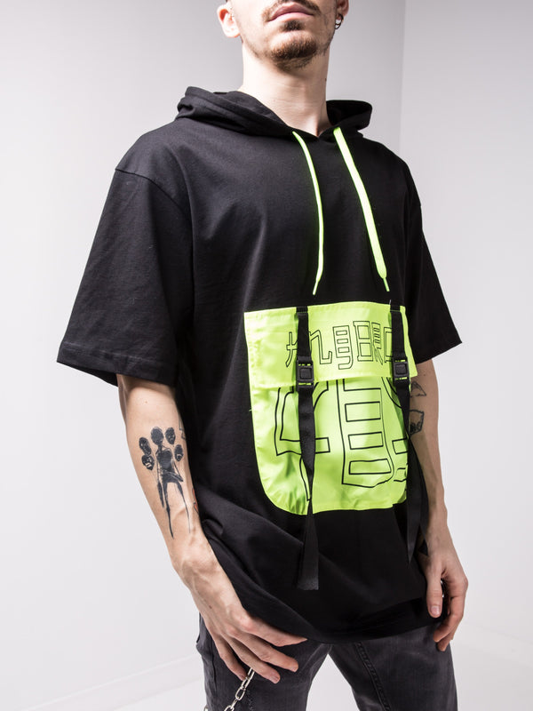 Hooded Black Tshirt With Green Neon Pocket - T-Shirts - mens streetwear