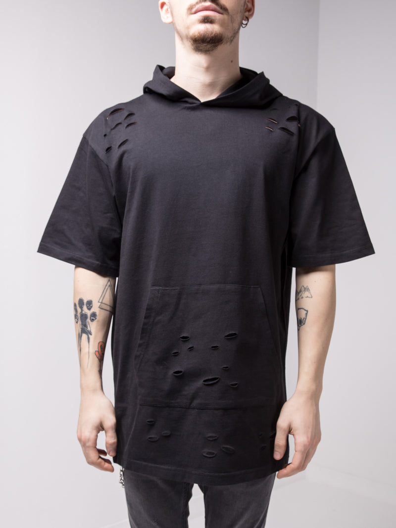 Hooded and Ripped Black T-shirt with a Kangaroo Pocket - T-Shirts - mens streetwear