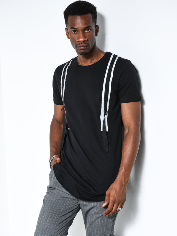 Back and Forth Strap Detail Black T-shirt