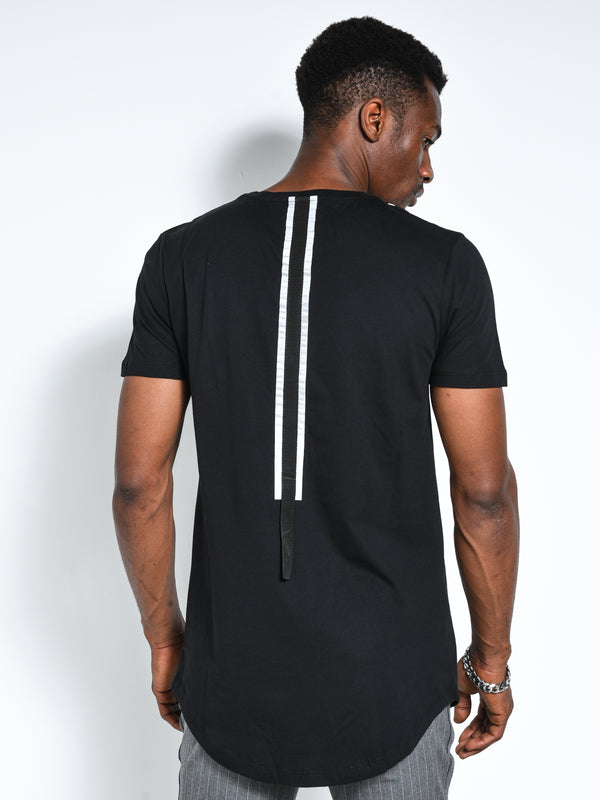 Back and Forth Strap Detail Black T-shirt - T-Shirts - mens streetwear