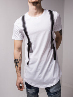 Back and Forth Strap Detail White T-shirt - T-Shirts - mens streetwear