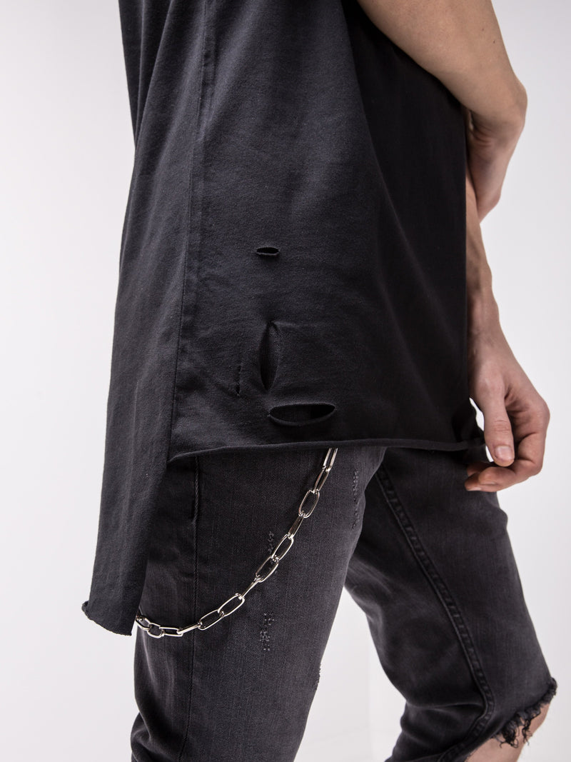 Ripped Longtail Black T-shirt - T-Shirts - mens streetwear