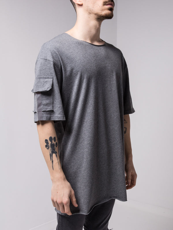 Big Back Pocket T-shirt Grey - T-Shirts - mens streetwear