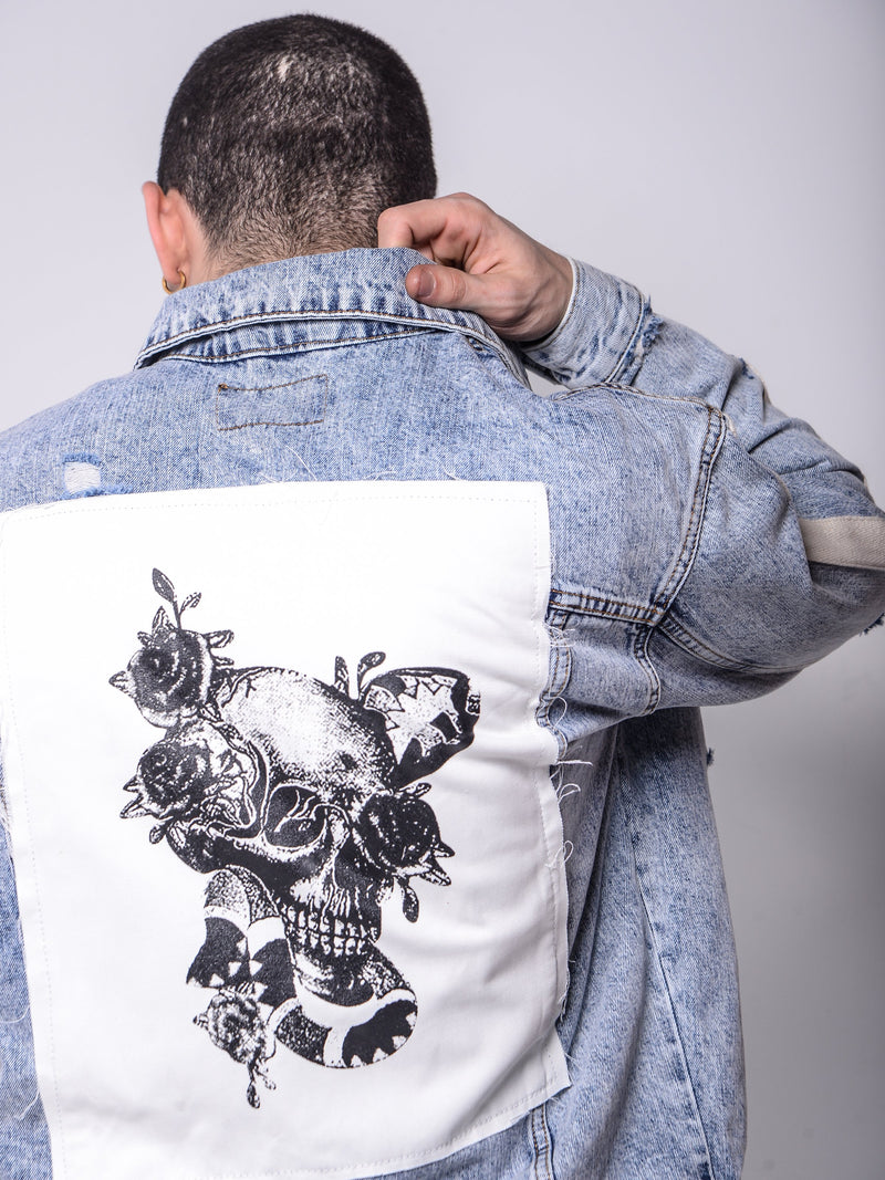 Skull Patched Denim Jacket -  - mens streetwear