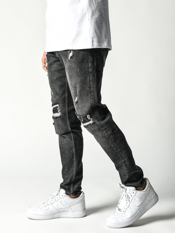 Casual Ripped Jeans - Black