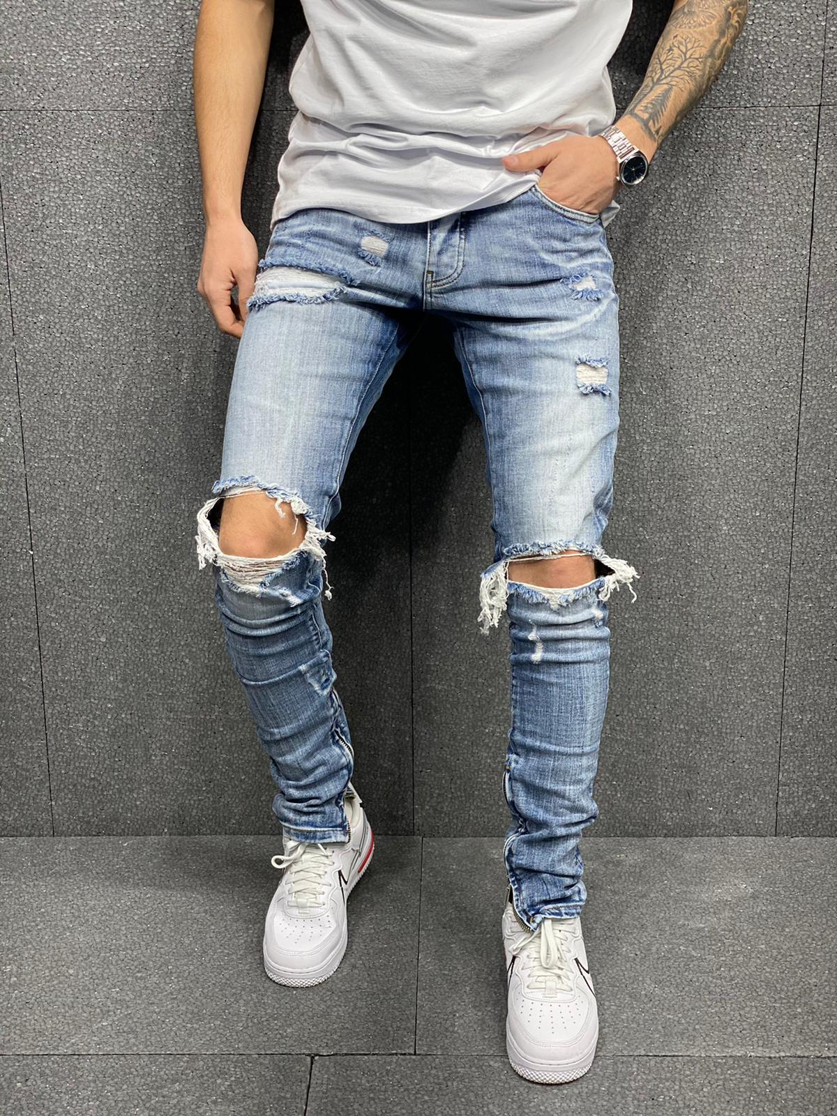 Ripped Monster Jeans - Light Blue