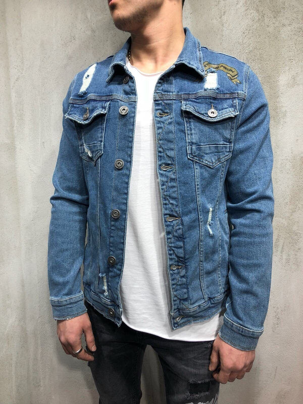 Printed Back Jean Jacket Distressed - Shirts - mens streetwear